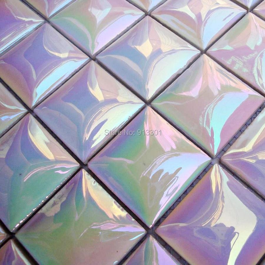 Iridescent mosaic tile backsplash