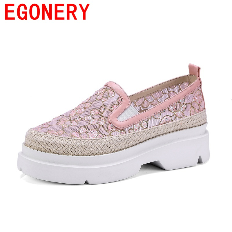 EGONERY newest net yarn embroidery elastic band hollow out flower woman shoes campus breathable skid resistance spring shoes<br>