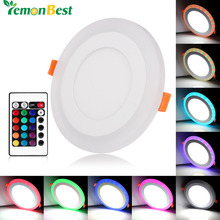 Ultra Slim 6W 9W 18W 24W Round Concealed Dual Color LED Panel Light Cool White Lamp Downlight AC100-265V
