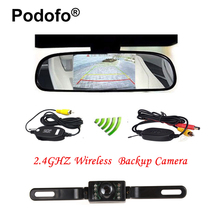 "Podofo Wireless 4.3"" TFT Rearview Mirror Car Rear View Camera HD Video Parking LED Night Vision CCD Parking System Car Styling(China)"