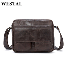 WESTAL Genuine Leather Bag cowhide Men Bags male Shoulder Crossbody Bags Messenger Flap Casual Handbags men Leather Bag 8931(China)