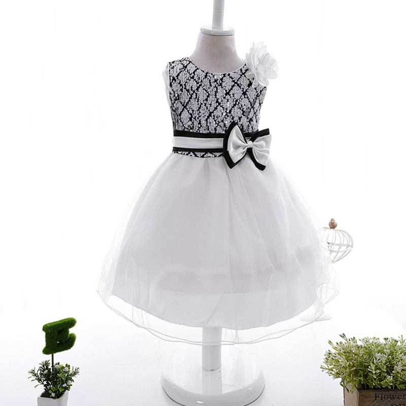Baby Girls Wedding Party Dresses Sequined Disfraz Children Mesh Dress Bow Girl Gown Party Dress Costume 2Y-10Y Girls Clothes<br>