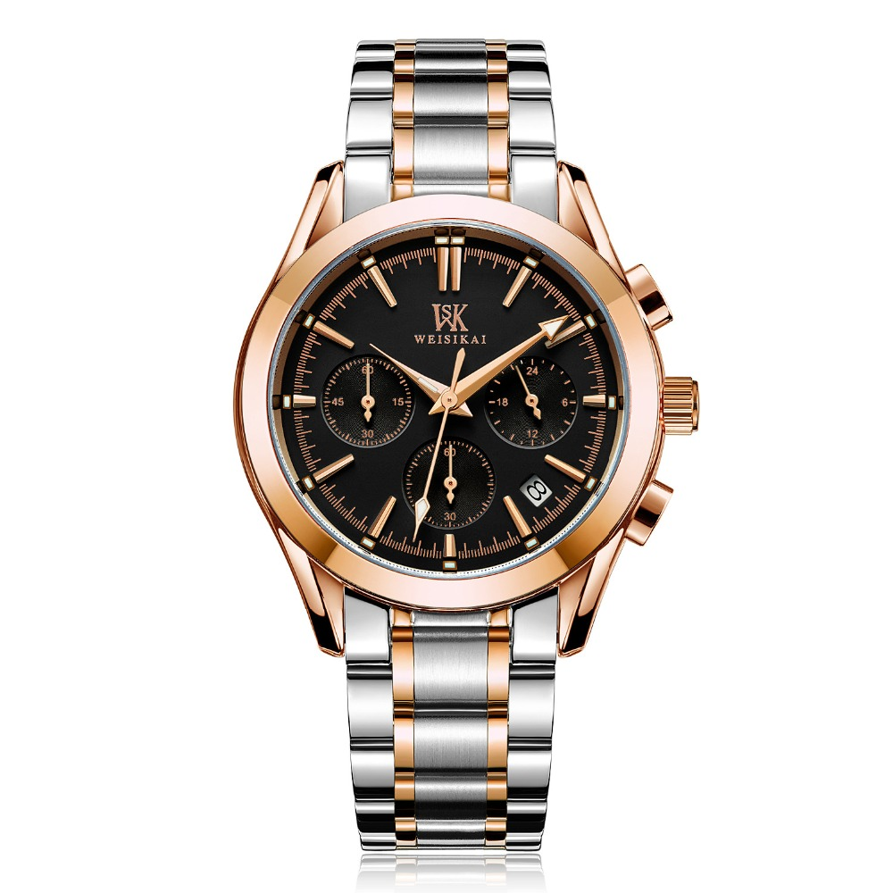 Mens Fashion Business Rose Gold Watch Luxury 3 Eyes Six Pointers Quartz Leather Watches Waterproof Calendar Watches Hot Clock<br>