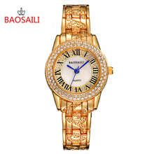 BSL1052 BAOSAILI Women Luxury Blingbling Imitation Diamond Roman Numbers Watches Gold & Silver Color Women Fashion Wirstwatches(China)