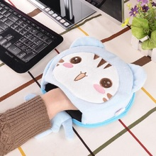 Hot Cute Cartoon Doll Home Office Winter Plush Warm Mouse Pad Laptop Wrist Rest Mice Pad USB Warm Hand Heating Mice Mat Nov1