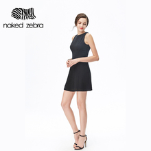NAKED ZEBRA High Quality Women Summer Sleeveless Short Dress Black White Classic Color Slim Dress Brief Design Ladies Clothing