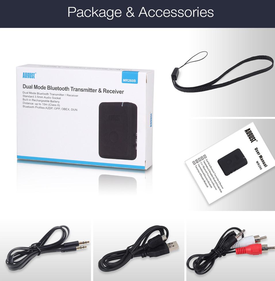 August MR260 Wireless Bluetooth Audio Transmitter Receiver