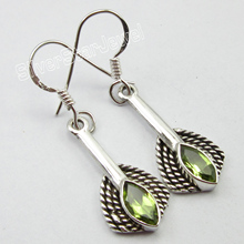 Chanti International Indian Jewelry Supply ! Solid Silver GREEN PERIDOT ETHNIC Earrings 3.6 CM(China)