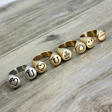mix style 2016 U are my love Rings For Women Vintage Rings Smiling Face /Heart/Sun Fashion Ring atacado lote smile face sun ring