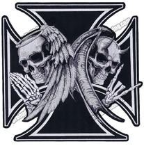 NEW ARRIVAL LARGE SIZE CROSS DEATH DEVIL SKULL PATCH ANGEL SKULL MOTORCYCLE BIKER EMBROIDERED  BACK PATCH IRON FREE SHIPPING
