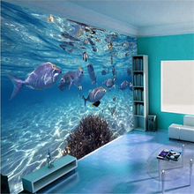 beibehang wallpaper Custom photo wallpaper 3D stereoscopic underwater world of marine fish living children's room TV background(China)