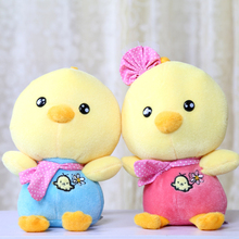 Super cute 2pcs 23cm cartoon lover chick plush doll car window pendant stuffed toy children prize gift toy wholesale