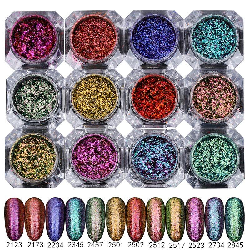 BORN PRETTY 12pcs Chameleon Starry Sky Nail Art Paillette Sparkly Glitter Ultrathin Sequins Powders Manicure Decoration<br>