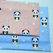 100x160cm Adorable Black White Panda Printed Cotton Fabric Animal Fabric For DIY Sewing Quilting Bedding Clothing(China)