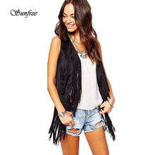 Sunfree 2017 Hot Sale Women Autumn Winter Faux Suede Ethnic Sleeveless Tassels Fringed Vest Brand New High Quality Dec 16(China)