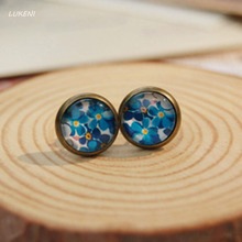 1Pair Spring Fashion Blue Floral Flowers Print Glass Cabochon Post stud Earrings Vintage Bronzed Stud Handmade Christmas Gifts(China)