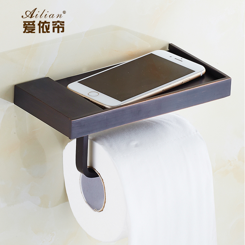 European 100% copper antique black bronze towel rack roll toilet paper holder multifunction mobile phone toilet hygiene tray<br>