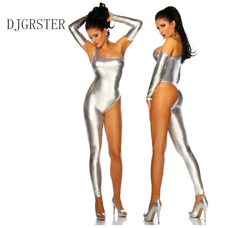 DJGRSTER Women Pole Dance Costume Latex Lingerie Sexy Faux Leather Catsuit Black Bodysuit PVC Wet Look Bandage Half Jumpsuit (2)