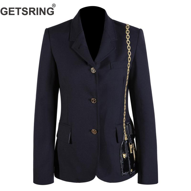 GETSRING Women Blazer Temperament Ladies Blazer Jacket Embroidery Bag Double Breasted Blazer Women Long Sleeve Spring Jacket New
