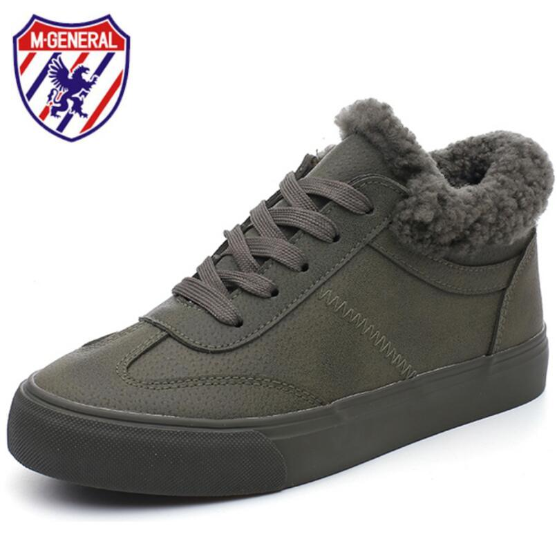 M GENERAL Winter Shoes Women 2017 Winter Boots Woman Sneakers Casual Canvas Shoes Lace-Up Plush Warming Women Boots Platform<br>