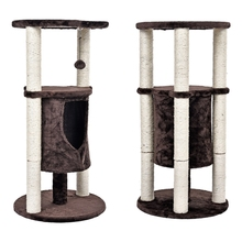 Unique Designing Sisal Cat Tree Pet Cat Window Luxury Chair Kitten Jumping Bed House For Cat Scratching Post Funny Hanging Ball(China)