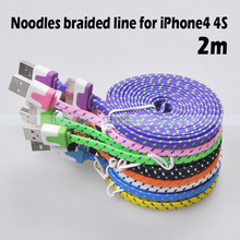1M/2M/3M 30Pin Flat Noodle Fabric Nylon Braided WovenUSB Data Sync Charger Cable Cord for iPhone 3 3G 4 4S/iPad 2 3/iPod Nano