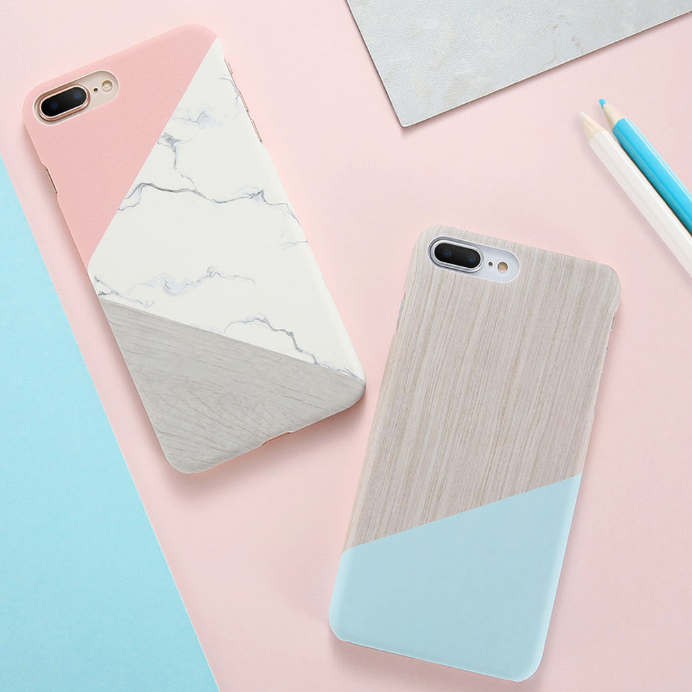 DOES Phone Case iPhone 5 5S SE 6 6S 7 8 Plus X Case Marble Wood Pattern Ultra Slim Hard PC Cover iPhone8 7Plus X Case