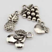 Hot ! 12pcs Antique Silver Alloy Apple Grape Cherry Pineapple Mixed Fruit Charms Pendant DIY Jewelry nm316