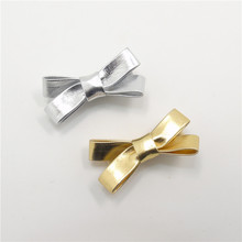 20pcs/lot Princess Gold Silver Bow Knot Hairpins Metallic Christmas Party Barrettes PU Leather Fabric Hair Clips Girls Gifts(China)