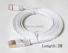 Free Shipping 2M Network Cable Ethernet Cable Cat7 RJ45 M/M Thin High Speed Flat Shielded Twisted Pair Internet Lan