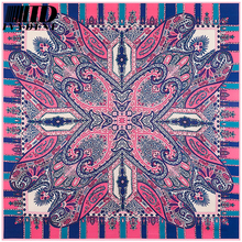 2016 Women Bag Handle Silk Scarf Square Twill Cashew geometry Pattern Famous Brand Luxury Silk Scarf Bohemia Female Head Scarf(China)