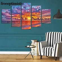 5 Panels HD Printed Fire Sky Beach Mermaid Painting Canvas Print Room decor print poster Picture Canvas P0956(China)