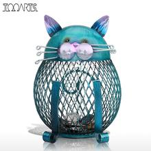 Tooarts Blue Cat Figurine Piggy Bank Metal Figurine Animal Money Box Vintage Home Decor Shaped Home Decoration Crafts For Home(China)