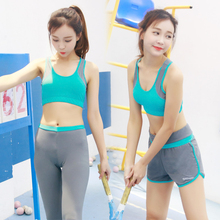 High Quality 4 Pieces in 1 Yoga Set Long Sleeves & Bra & Pants & Shorts Gym Clothes Sport Wear Training Suit Running Outdoor Jog