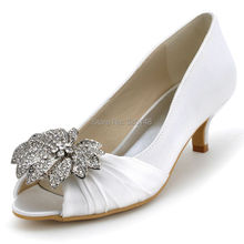 Woman Wedding Bridal Shoes EP2058 White Ivory Low Mid Heel Rhinestones Satin Bridesmaids Prom Evening Bridal Pumps