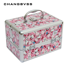 Lovely Cat Pink and Blue Jewelry Box Large Capacity Cosmetic Bag,Makeup Case,Rangement Maquillage,Make Up Storage Box Container(China)