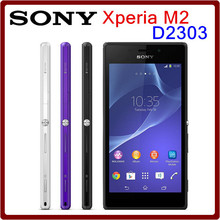 Original Unlocked Sony Xperia M2 D2303 Quad core 8MP Camera 8GB+1GB Android OS 4.8 inch toucj screen cell phones Free shipping