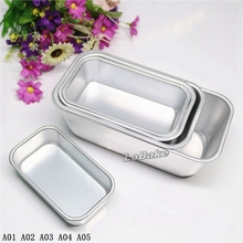 (5pcs/set) New 5 sizes plain surface rectangle shape aluminium egg tarts tarte pudding jelly mousse bread cake toast bake mould(China)