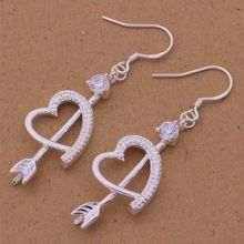 AE494 Hot 925 sterling silver earrings , 925 silver fashion jewelry , An arrow through a heart /cnhaleoa axjajoqa