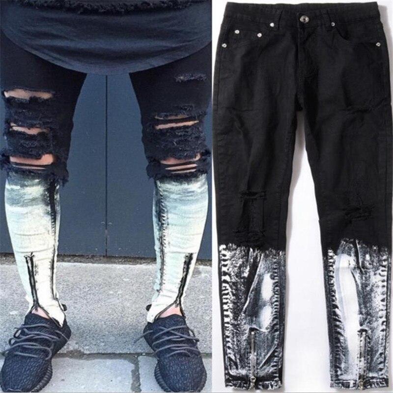 Ripped patchwork Zipper Jeans For Men Skinny Distressed Slim Famous Brand Designer Biker HipHop Swag Tyga  Black Slim JeansÎäåæäà è àêñåññóàðû<br><br>