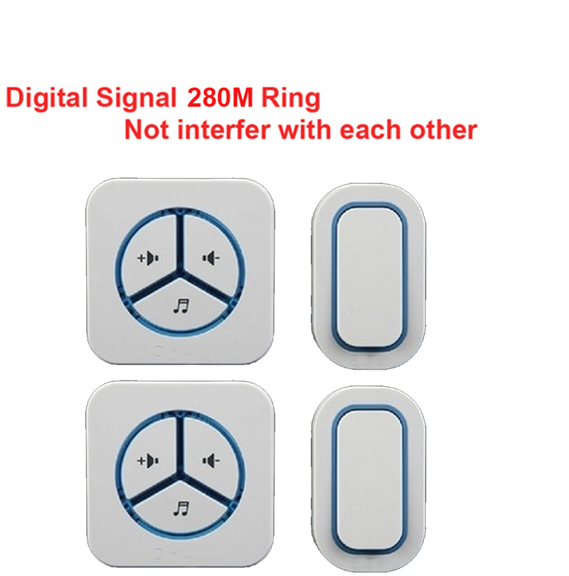 2 emitters+2 receivers doorbell Waterproof 280m work wireless doorbell,wireless door chime,wireless bell, 48 melodies door bell<br>