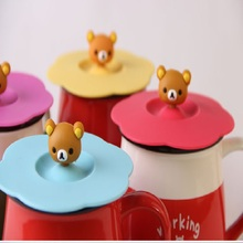 1PC Cute Bear Silicone Glass Cup Cover Sealed Anti Dust Cartoon Cup Lid Heat-Resistant Coffee Mug Cover Non Spill 4 Colors