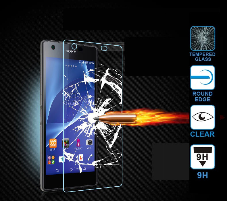 9H 0.3mm HD Protective Premium Tempered Glass Sony Xperia Z Z2 Z5 Compact S39H M2 M5 E3 E5 C3 C4 C5 Screen Protector Case