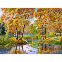 3D Diy diamond paintings drill rhinestone mosaic needlework Beautiful autumn pictures DIY 5D square Diamond embroidery(China)