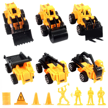 15pcs/lot  Pull Back Emulational Engineering Car Vehicles Building Crane Kids Toy Excavator Bulldozer Cars Toy Diecast Car Model