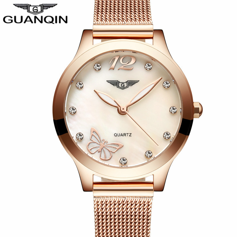 GUANQIN 2017  Watches Women Dress Gold Mesh Band Full Steel Bracele Quartz Watch Luxury Womens  Clock relogio feminino<br>