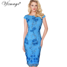 Vfemage Womens Elegant 3D Flower Embroidery Casual Party Evening Mother of Bride Special Occasion Sheath Bodycon Dress 3906(China)