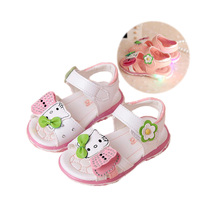 cute baby girl sandals shoes LED lighted hello kitty beach sandals for 9M-6yrs girls kids child lovely candy sandals shoes hot