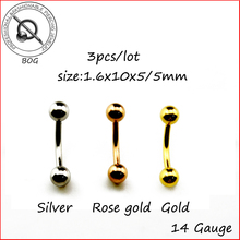 BOG-Lot 3 Pieces Titanium Anodized Rose Gold 316L Steel Curved Barbell Belly button Navel Ring Body Piercing Nombril Ombligo 14g