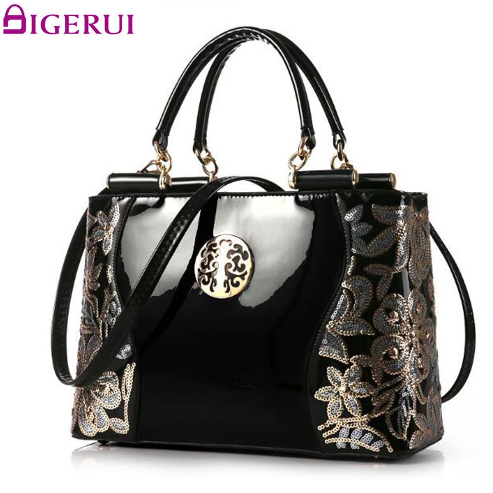 DIGERUI Handbag Female Women Patent Leather Handbags Good Quality Embroidery Vintage Shoulder Bags Female Messenger Bag A846<br>